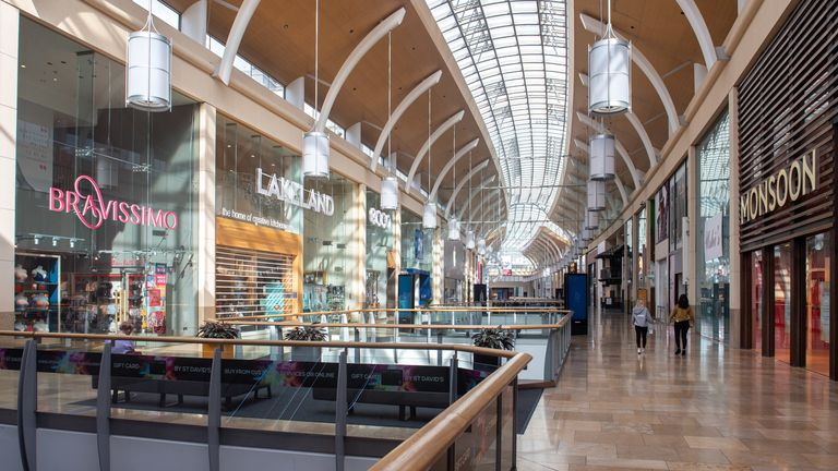 A quiet St David's shopping centre in Cardiff on March 23