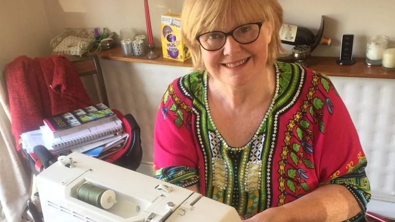 Catherine Daw has been making headbands for NHS workers in Oxfordshire