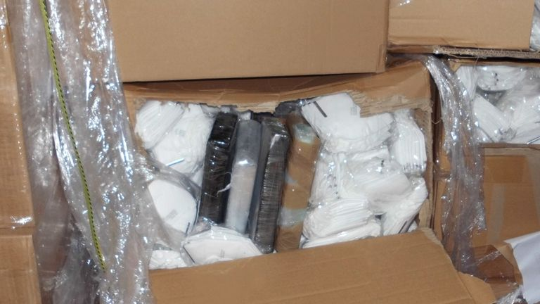 Police found 14kg of cocaine hidden in a consignment of face masks hidden in a lorry at Dover