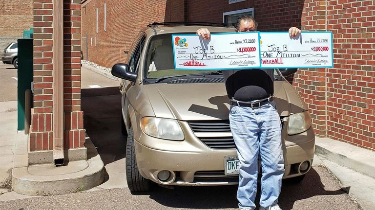 'Joe B' from Pueblo, Colorado, claims the two $1 million Powerball prizes he won on 25 March. Pic: Colorado Lottery