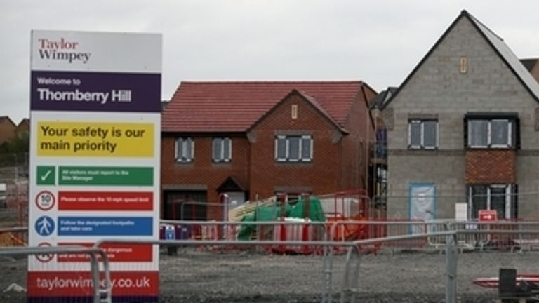 A Taylor Wimpey housing development in Telford where building work has ceased as the UK continues in lockdown to help curb the spread of the coronavirus. PA Photo. Picture date: Monday March 30, 2020