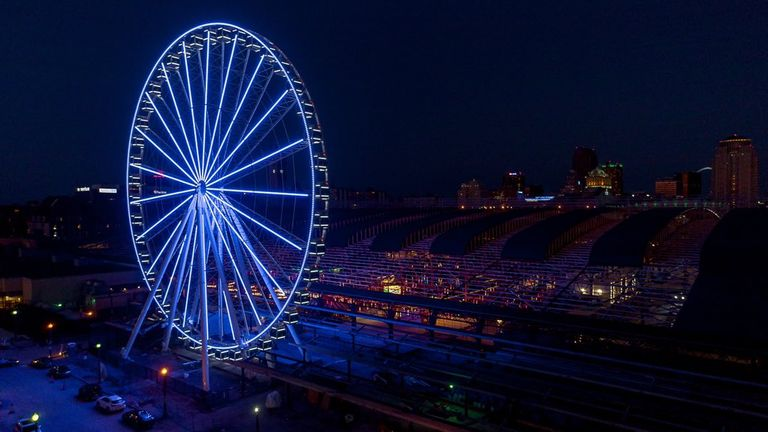 St Louis Wheel at Union Station  shines blue from 200ft up. Pic: @stlouiswheel