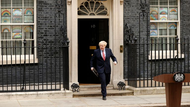 Prime Minister Boris Johnson before making a statement outside 10 Downing Street, after recovering from the coronavirus disease