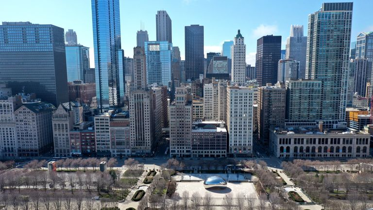 Chicago's Millennium Park, the most visited tourist site in Illinois, sits empty during the lockdown