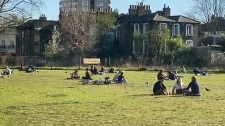 In London fields, people were spotted enjoying the warm weather, despite advice to stay at home.