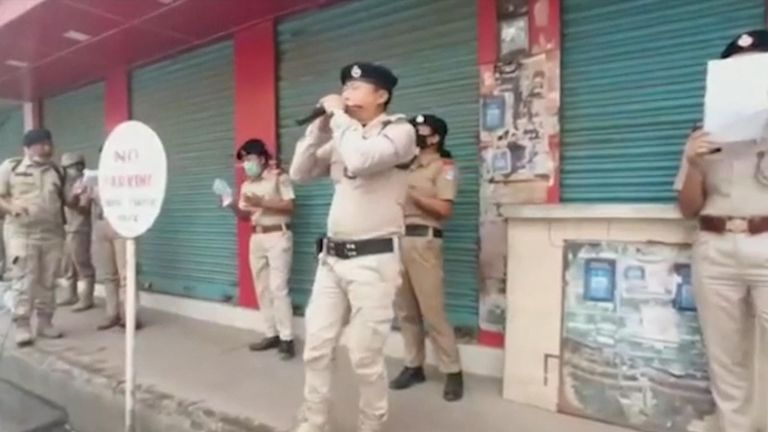 Police patrolling the streets of the Indian state of Nagaland sang gospel hymns as residents remained under lockdown due to the coronavirus pandemic.