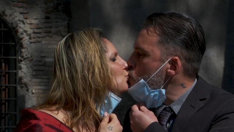 A couple living in Rome, Italy, got married on Saturday, despite the city remaining in lockdown due to the coronavirus.