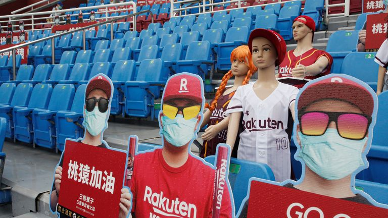 Dummies replaced audience due to the outbreak of the coronavirus disease (COVID-19) at the first professional baseball league game of the season at Taoyuan International baseball stadium in Taoyuan city, Taiwan.
