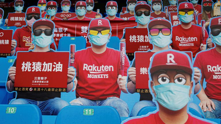 Dummies replaced audience due to the outbreak of the coronavirus disease. Credit: Reuters