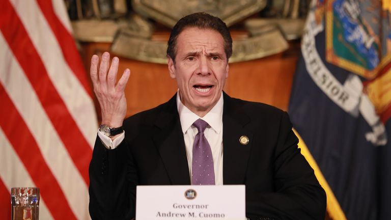 "ALBANY, NY - APRIL 17: New York Governor Andrew Cuomo gives his a press briefing about the coronavirus crisis on April 17, 2020 in Albany, New York.Cuomo along with governors from other East Coast states are extending their shutdown of nonessential businesses to May 15. ""We have to continue doing what we're doing. I'd like to see that infection rate get down even more..."", he said. (Photo by Matthew Cavanaugh/Getty Images)"