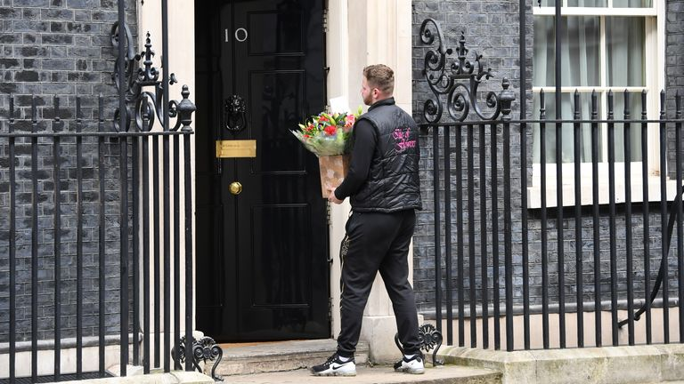 Flowers have been delivered to Downing Street while Boris Johnson is treated in intensive care