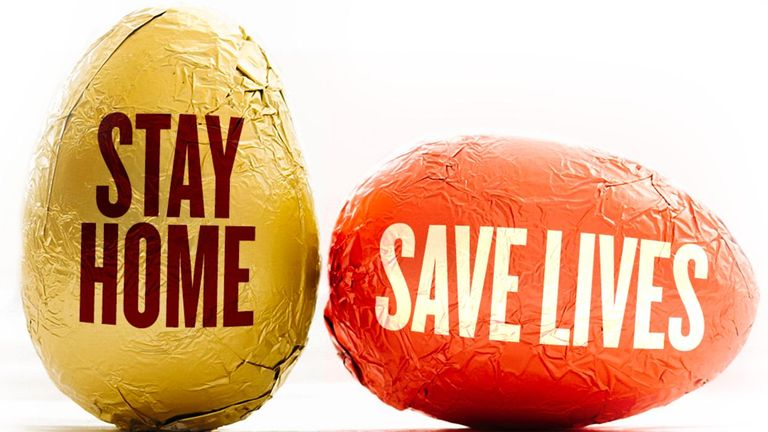 Government advert warning people to stay home during the Easter weekend