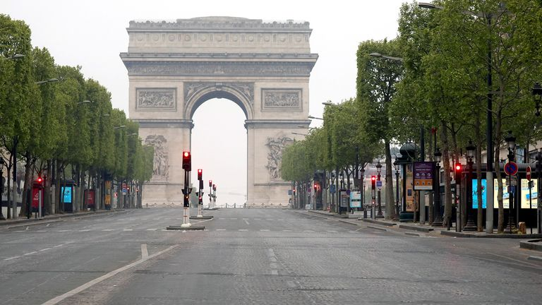 PARIS, FRANCE - APRIL 19:A view of Avenue Des Champs Elysees on April 19, 2020 in Paris, France. The Coronavirus (COVID-19) pandemic has spread to many countries across the world, claiming over 160,000 lives and infecting over 2.3 million people. (Photo by Pierre Suu/Getty Images)