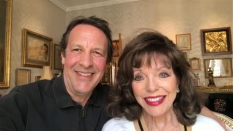 Joan Collins and her husband Percy Gibson have offered lunch at Claridge's when the pandemic is over as an NHS fundraiser auction prize
