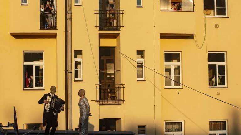 Street performers have been entertaining people in Prague on lockdown