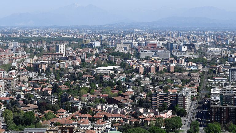The Italian Alps are now visible above Milan thanks to the lack of pollution