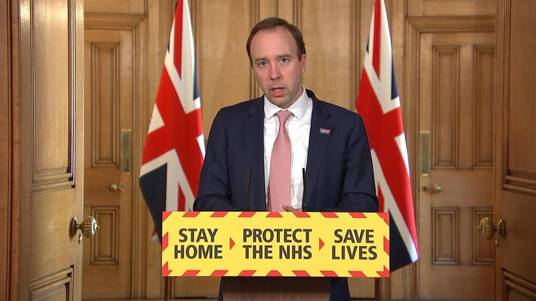 Health secretary Matt Hancock leads the government's daily coronavirus press briefing