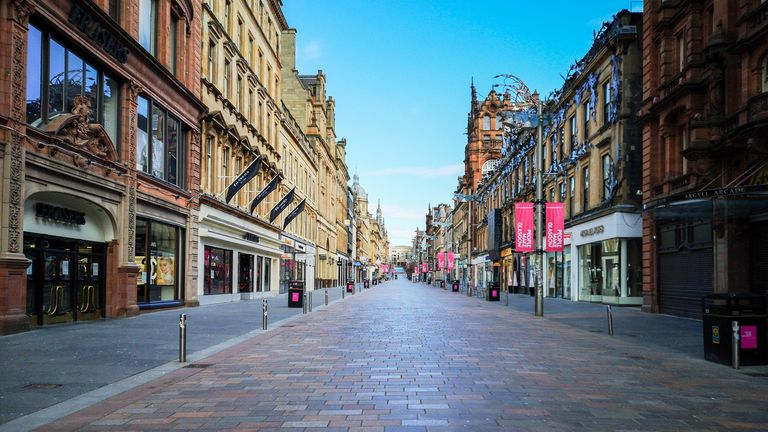 Normally bustling shopping hub Buchanan Street is deserted as people stay at home amid the Coronavirus lockdown in Glasgow. Pic:Tony Clerkson/Shutterstock