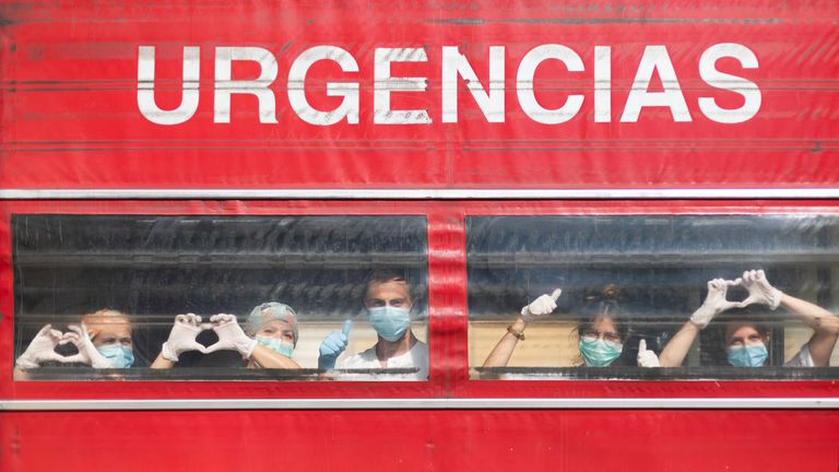 A group of Spanish health workers send a positive message of hope