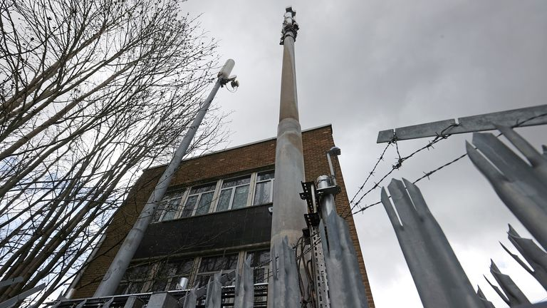 A telecommunications mast damaged by fire is seen in Sparkhill, masts have in recent days been vandalised amid conspiracy theories linking the coronavirus disease (COVID-19) and 5G masts, Birmingham, Britain, April 6, 2020. REUTERS/Carl Recine