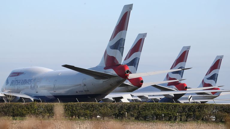 British Airways Boeing 747 aircraft parked at Bournemouth airport after the airline reduced flights amid travel restrictions and a huge drop in demand as a result of the coronavirus pandemic. PA Photo. Picture date: Wednesday April 1, 2020. See PA story HEALTH Coronavirus. Photo credit should read: Andrew Matthews/PA Wire