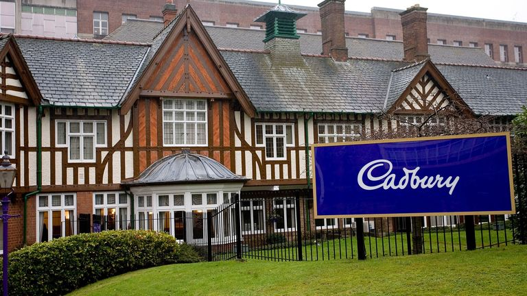 Outside the Cadbury's chocolate factory, Bournville, West Midlands