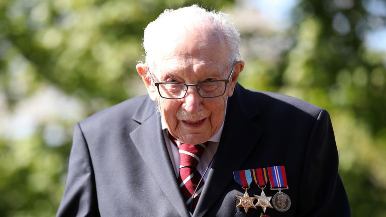Retired British Army Captain Tom Moore, 99, raises money for health workers by attempting to walk the length of his garden one hundred times before his 100th birthday this month as the spread of coronavirus disease (COVID-19) continues, Marston Moretaine, Britain, April 15, 2020. REUTERS/Peter Cziborra