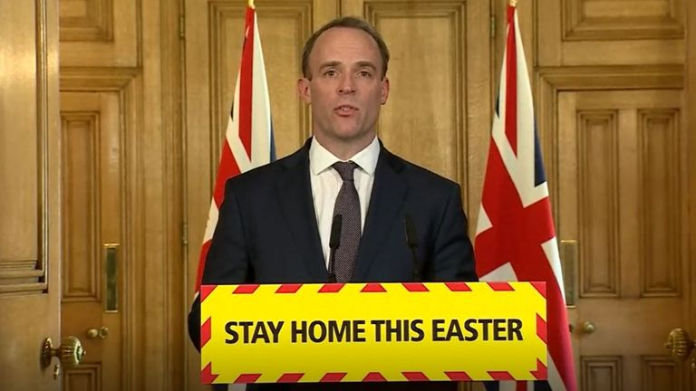 Screen grab of Foreign Secretary Dominic Raab during a media briefing in Downing Street, London, on coronavirus (COVID-19). PA Photo. Picture date: Thursday April 9, 2020. See PA story HEALTH Coronavirus. Photo credit should read: PA Video/PA Wire