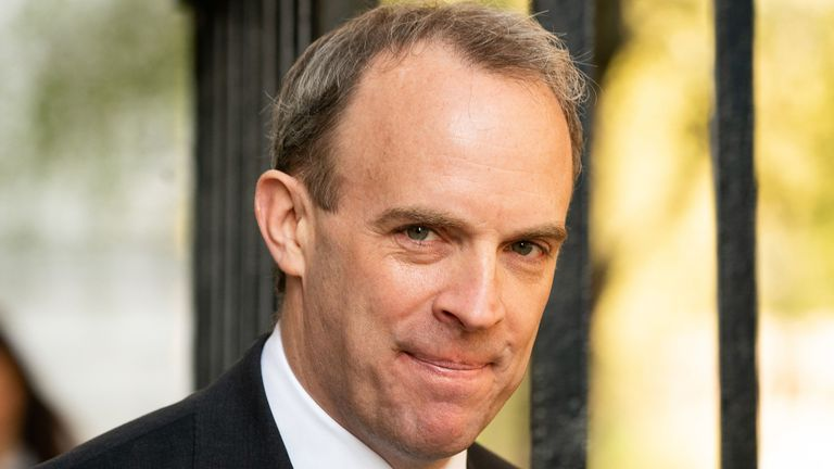 Secretary of State for Foreign and Commonwealth Affairs Dominic Raab arrives at Downing Street, London. PA Photo. Picture date: Wednesday April 15, 2020. Prime Minister Boris Johnson remains in Chequers, Buckinghamshire, where he is convalescing following his hospitalisation with coronavirus. See PA story HEALTH Coronavirus. Photo credit should read: Aaron Chown/PA Wire