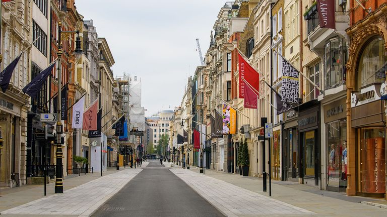 New Bond Street looking empty on a Saturday afternoon. Pic: Nick Harvey/Shutterstock