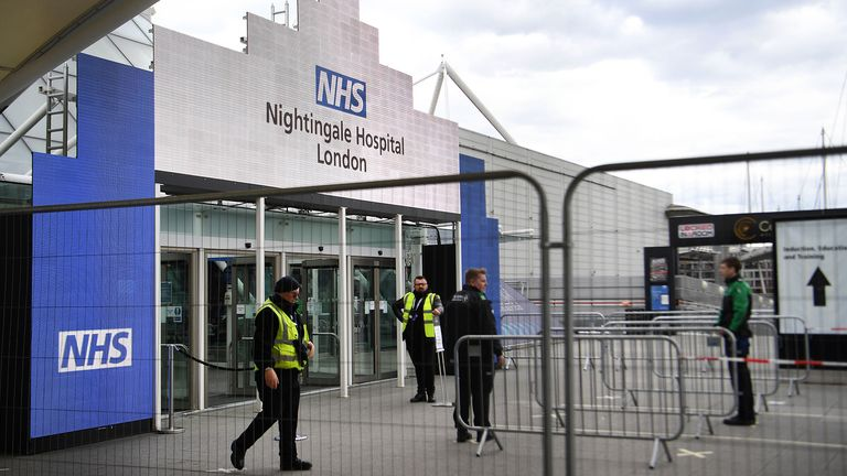 Mandatory Credit: Photo by ANDY RAIN/EPA-EFE/Shutterstock (10600122z).A view on the Nightingale Hospital at the ExCel conference center in London, Britain, 02 April 2020. The temporary hospital is suppose to be ready to take care of coronavirus COVID-19 patients at the end of the week. Countries around the world are taking increased measures to stem the widespread of the SARS-CoV-2 coronavirus which causes the Covid-19 disease..Coronavirus in Britain, London, United Kingdom - 02 Apr 2020