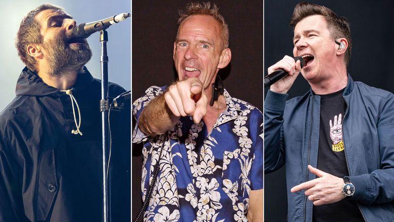 Liam Gallagher, Fatboy Slim and Rick Astley. Pics: Action Press/Maja Smiejkowska/Dan Reid/Shutterstock
