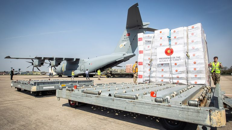 Crucial supplies of personal protective equipment (PPE) for medical staff are delivered from Turkey into a Royal Air Force base for distribution around the country. Pic: MoD/Crown copyright 2020/Reuters. File photo