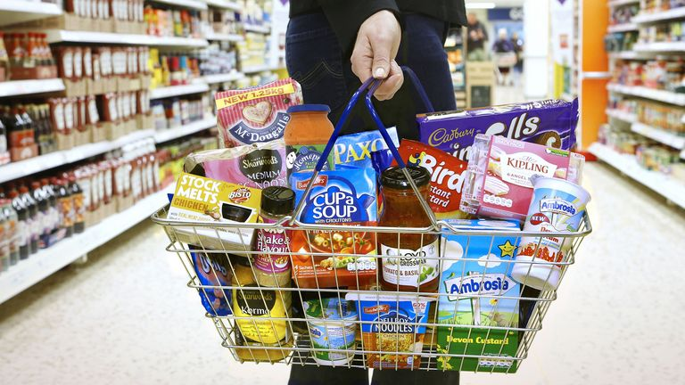 Undated handout photo issued by Premier Foods of products made by the company in a supermarket basket. Mr Kipling maker Premier Foods has seen sales jump in recent weeks as the coronavirus outbreak has driven demand for store-cupboard items.