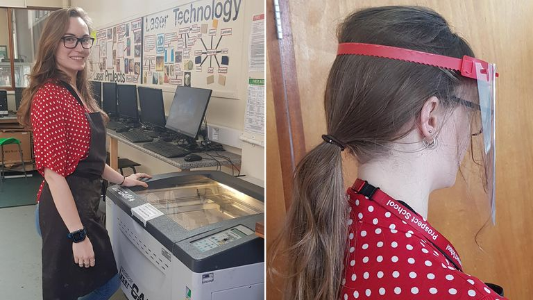 Heather Ridgus, Technology teacher at Prospect School in Reading, has been joining in a Berkshire wide effort to produce face shields. Photo courtesy of Head Teacher David Littlemore