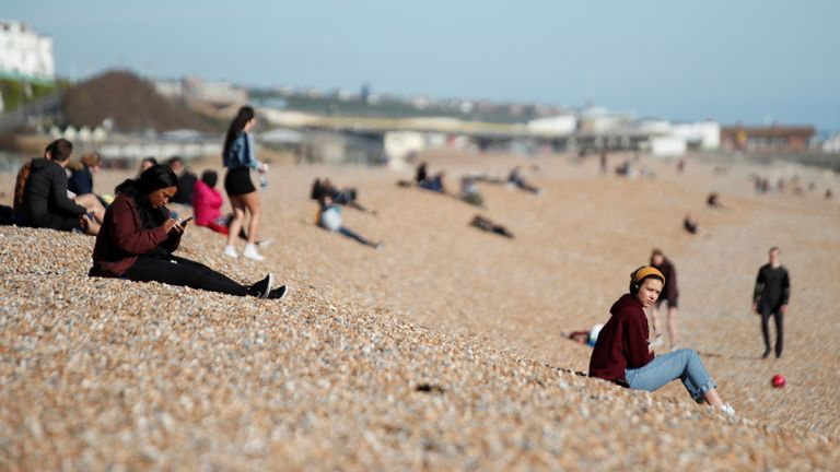 People on the beach yesterday in Brighton