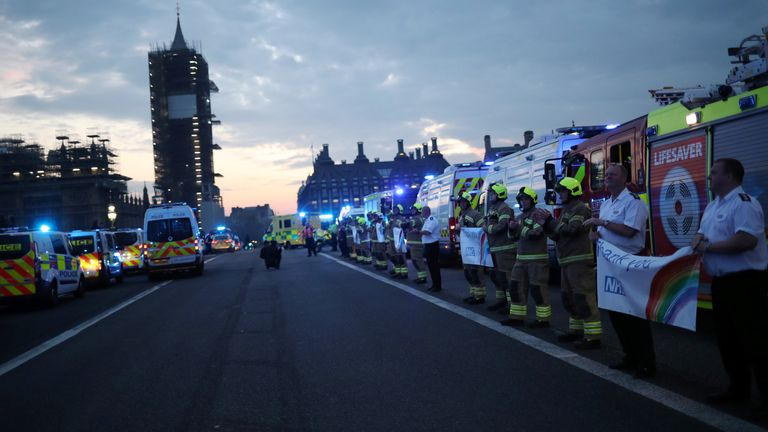 Emergency services applaud on Westminster Bridge on 16 April