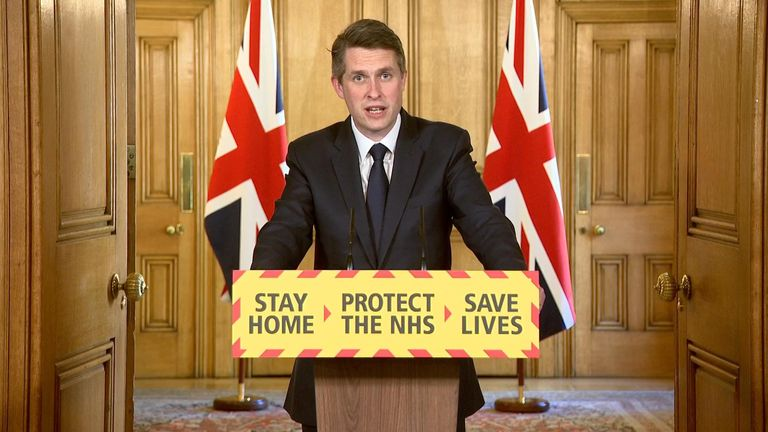Education secretary Gavin Williamson leads to government's daily coronavirus briefing