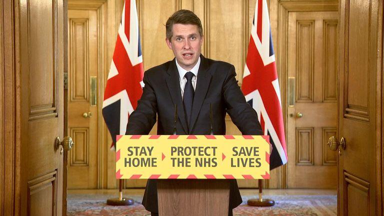 Education secretary Gavin Williamson leads to government's daily coronavirus briefing
