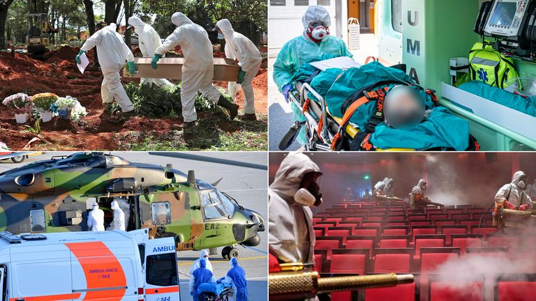 (Clockwise from top left)  Gravediggers in Sao Paulo, a patient in Milan, volunteers disinfect a theatre in Wuhan, patients arrived in a military helicopter in Salzburg. Pics: Reuters/Shutterstock/Marco Passaro/APA-PictureDesk GmbH