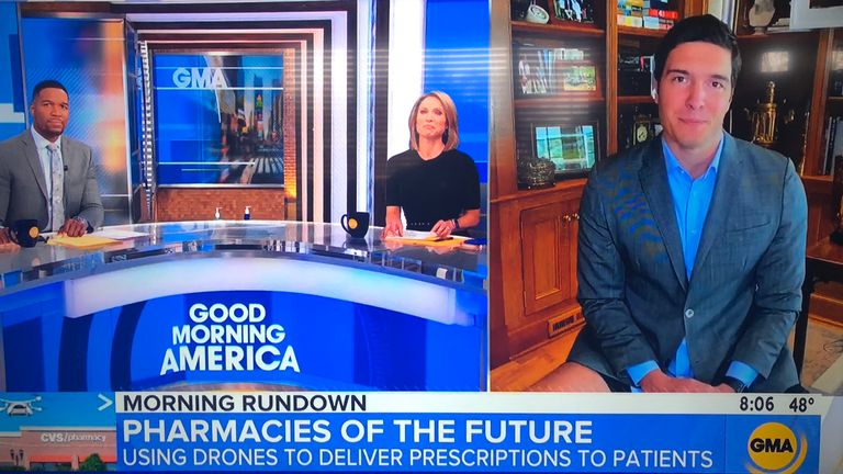 Journalist Will Reeve accidentally left his camera shot a little too wide frame for his appearance on GMA. Pic: Twitter/Ratemyskyperoom