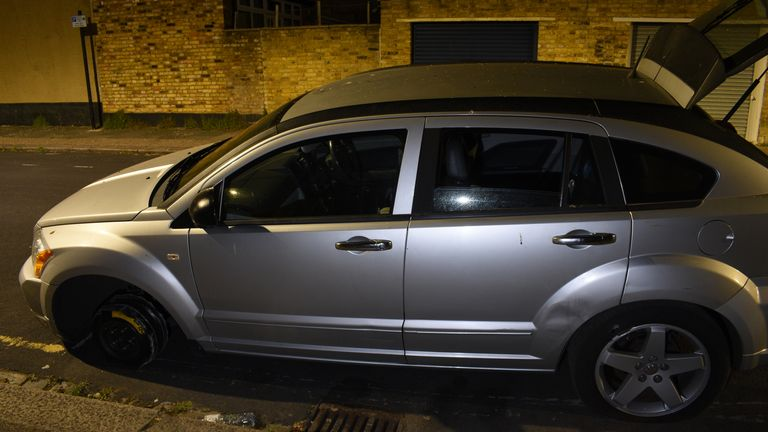 Police said this stolen Dodge Caliber was used by those who murdered NHS worker David Gomoh. Pic: Met Police