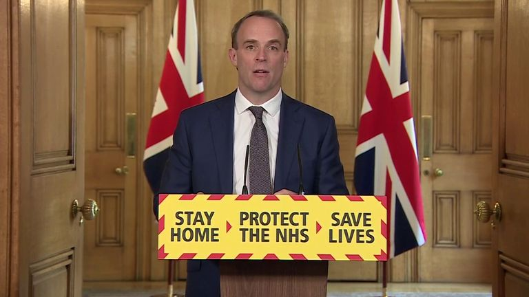 Dominic Raab chairs a Downing Street daily briefing on coronavirus