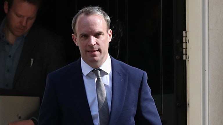 Foreign Secretary, Dominic Raab leaves 10 Downing Street, London.