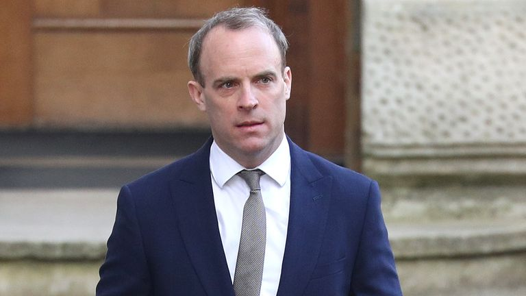Foreign Secretary, Dominic Raab arrives in Downing Street, London.