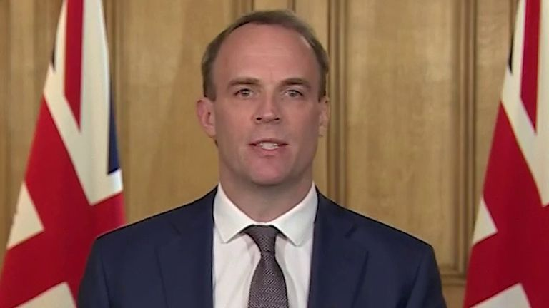 Dominic Raab announces the number of coronavirus deaths including those outside hospitals