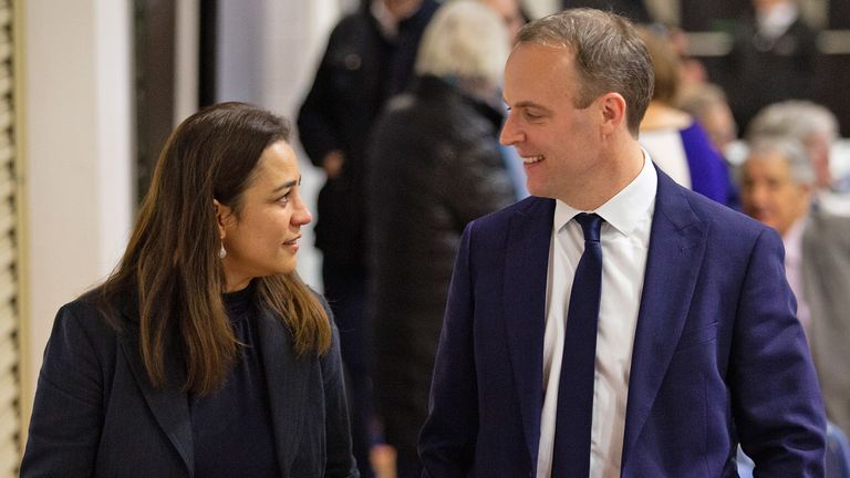 Conservative Party candidate Dominic Raab with wife Erika waiting for the results for the constituency of Esher and Walton at Sandown Park Racecourse in Surrey as counting is under way for the 2019 General Election.