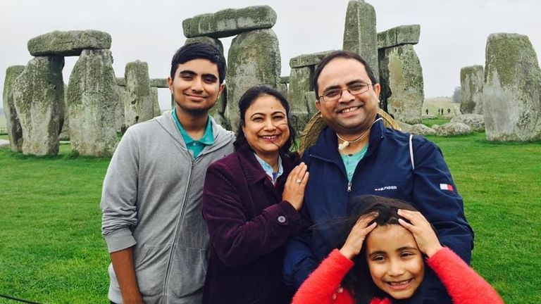 Doctor Abdul Manud Chowdhury and his family by yellow stone