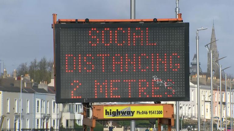 A sign in Dublin reinforcing the social distancing message