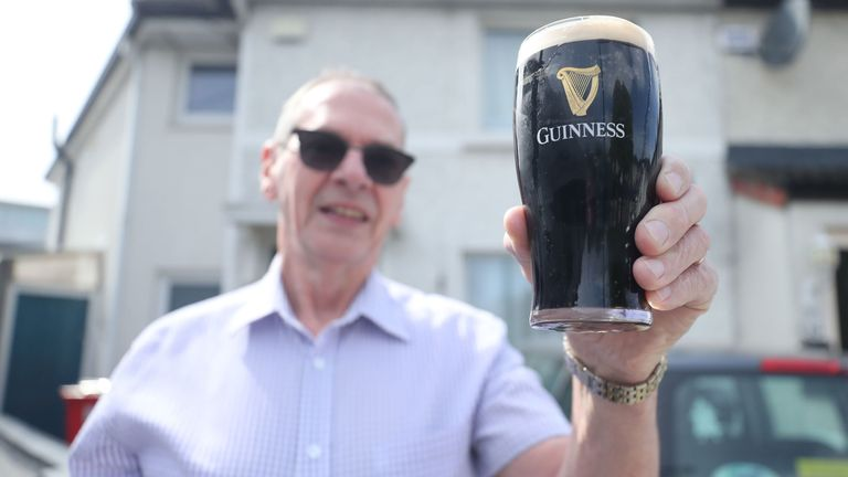 Customer Billy Scully has pints of Guinness delivered to his door